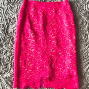 New Beautiful Pink Lace Pencil Skirt Size10 Tall